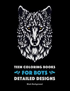 Teen Coloring Books for Boys: Detailed Designs: Black Background: Advanced Drawings for Teenagers & Older Boys; Zendoodle Skulls, Snakes, Spiders, ... Birds & Geometric Patterns; Midnight Edition