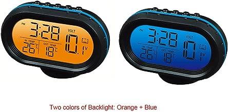 Yosoo 12V Car Digital Thermometer Voltmeter Clock Alarm Monitor, Multifunctional Auto Meter Clock Voltage Freezing Temperature Gauge, Clock LCD Monitor Battery Meter Detector LED Display (Blue)