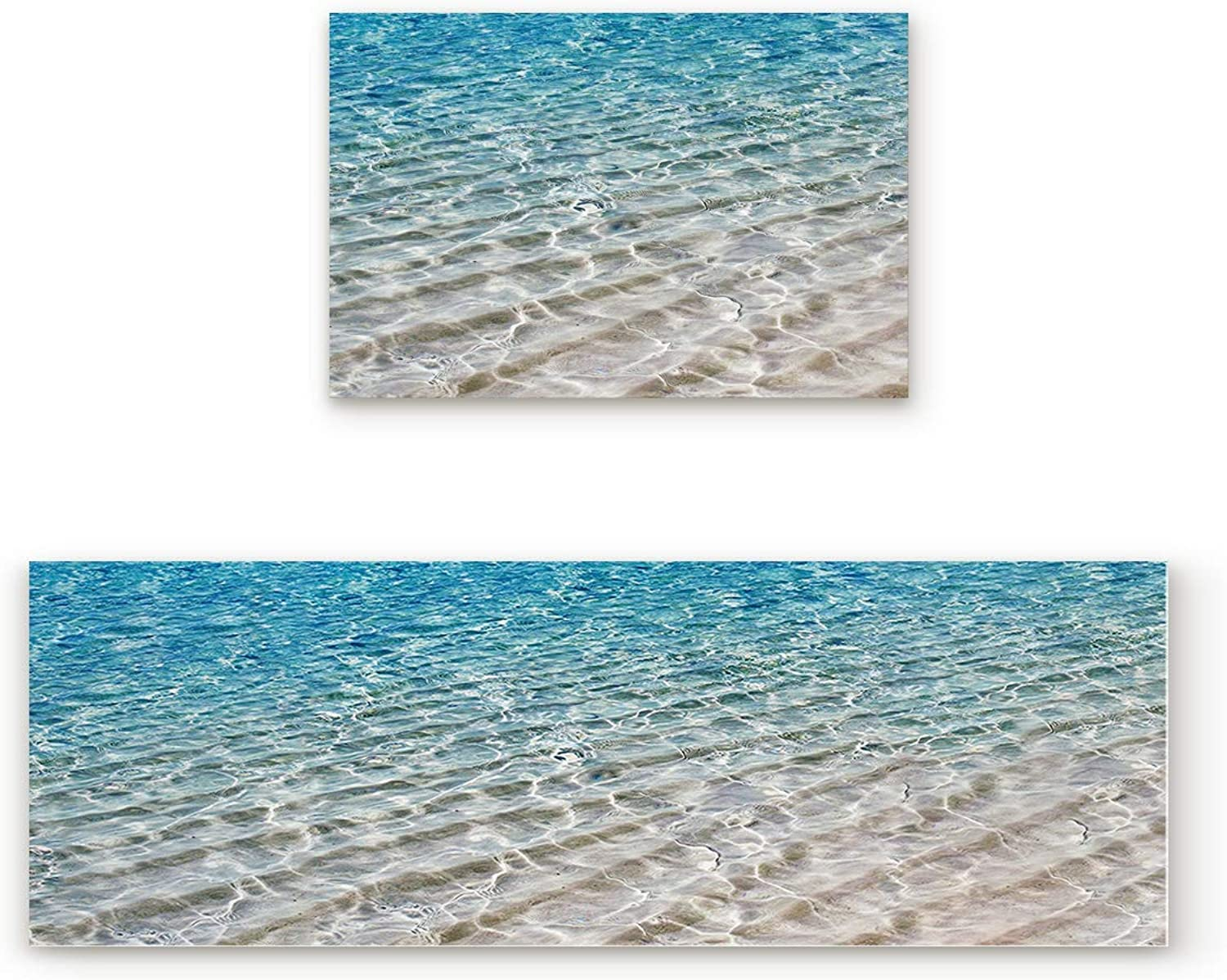 Greday Kitchen Rugs, Non Slip Mat Kitchen Rug Set 2 Piece bluee Rippled Sandy Beach Sea 19.7 x31.5 +19.7 x47.2