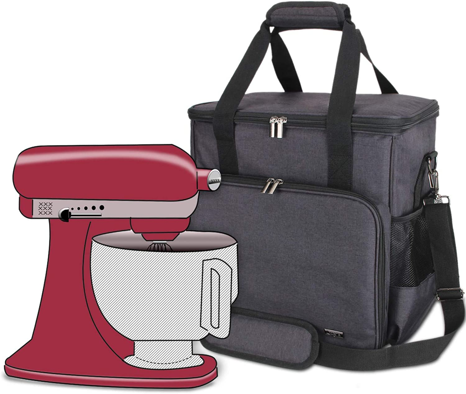 Luxja Portable Storage Bag for KitchenAid Mixers and Extra Accessories (Compatible with 4.5-Quart and All 5-Quart KitchenAid Mixers), NO ACCESSORIES INCLUDED, Black