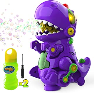 WisToyz Bubble Machine Dinosaur Toy Bump N Go Automatic Bubble Blower Bubble Maker Toys for Kids Toddlers Boys Girls 240ML Bubble Solution Screwdriver Included