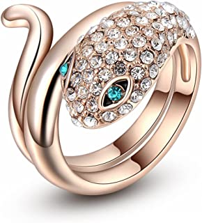 Fashion Rose Gold Plated Green Crystal Eyes Animal Snake Cocktail Ring Size 6-10