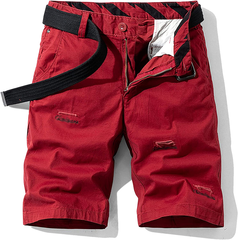 Casual Shorts Men Retro Khaki Pure Cotton Cargo Fashion Joing Pants Outdoor Oversize
