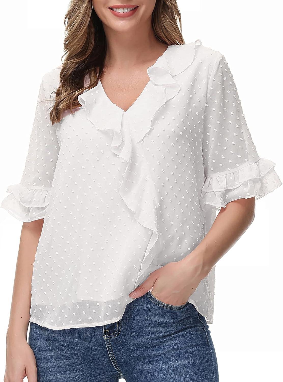 GRACE KARIN Women's Long Sleeve V Neck Ruffle Blouse Swiss Dot Chiffon Peplum Wrap Tops Shirts