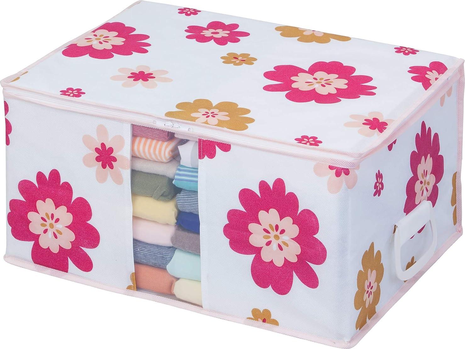 アストロ 収納ボックス 衣類用 花柄 不織布 抗菌?防臭 取っ手付き 618-40