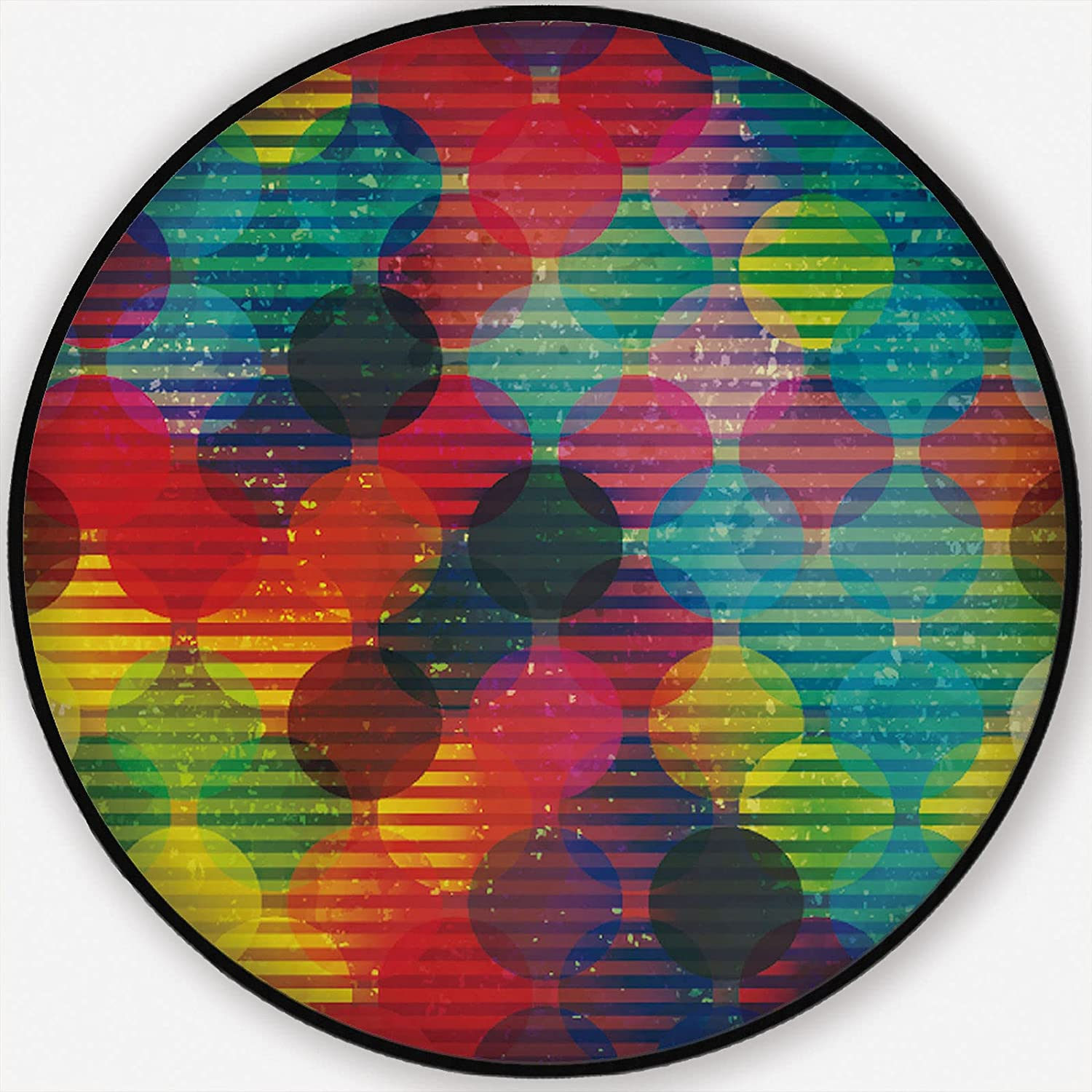 Retro Circle withEffect OFFicial shop Round Rug Carpet Backing Max 80% OFF Ro Non-Slip