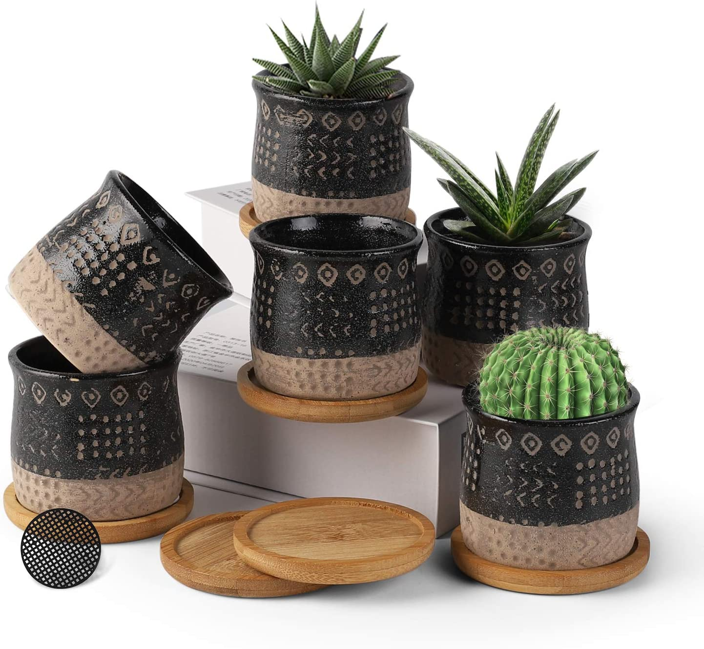 Small Succulent Plant Pots 6 Pack, 2.75 inch Mini Ceramic Planter with Bamboo Tray and Removable Drainage Hole,Retro Decor for Garden, Balcony, Office - Plants Not Included