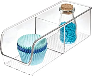 iDesign Linus Storage Boxes, Kitchen Storage Tray with 2 Compartments, Shatter-Proof Plastic, Clear, Small