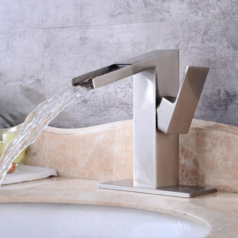 Lalaky Taps Faucet Kitchen Mixer Sink Waterfall Bathroom Mixer Basin Mixer Tap for Kitchen Bathroom and Washroom Brushed Waterfall Hot and Cold Retro