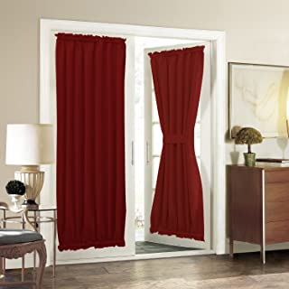 Aquazolax French Door Curtain Panels for Privacy Solid Blackout Thermal Curtains Window Treatment Drapes Decorative Patio Glass Door Panels 54