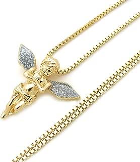 Fashion 21 Sparkled Micro Baby Angel Cherub Pendant 2mm 24 inches Box Chain Necklace Gold Silver Tone