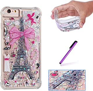 ISADENSER Case for iPhone 6 Plus Cover Design with air Thicked Corner 3D Hearts Quicksand Shiny Flowing Liquid Shockproof Transparent Clear Soft Protective Case for iPhone 6S / 6 Plus Paris Tower
