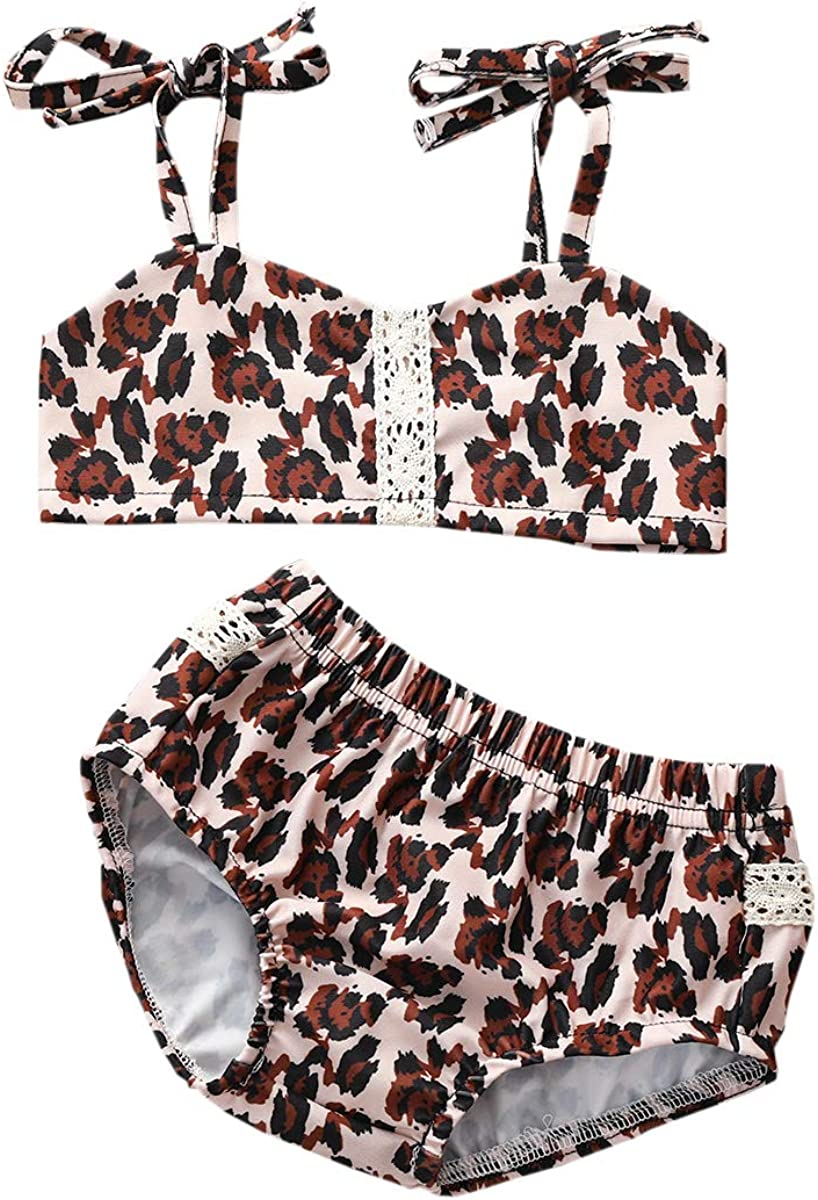 Girls' 2-Piece Swimwear Cute Kids Bathing Suits Toddler Bikini Swimsuit Halter Bikinis for Girls