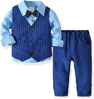 ZOEREA 3 Piezas Trajes de Bebés Niños Chaleco + Camisa con Pajarita + Pantalones Niño Caballeros Bautismo Boda Bautizo Patrón de Rayas Azules Conjuntos de Ropa