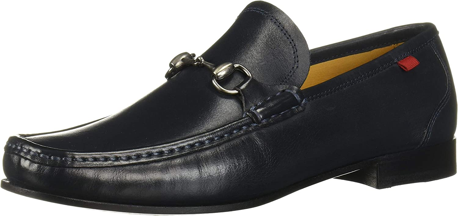 MARC JOSEPH NEW YORK Mens Gold Collection Leather Sole Buckle Loafer, Navy Nappa, 8 M US