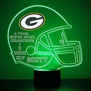 Mirror Magic Light Up LED Lamp - Football Helmet Night Light for Bedroom with Free Personalization - Features Licensed Decal and Remote (Green Bay Packers)