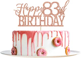 Rose Gold Glitter Happy 83rd Birthday Cake Topper - Hello 83 - Cheers to 83 Years Party Decoration Supplies