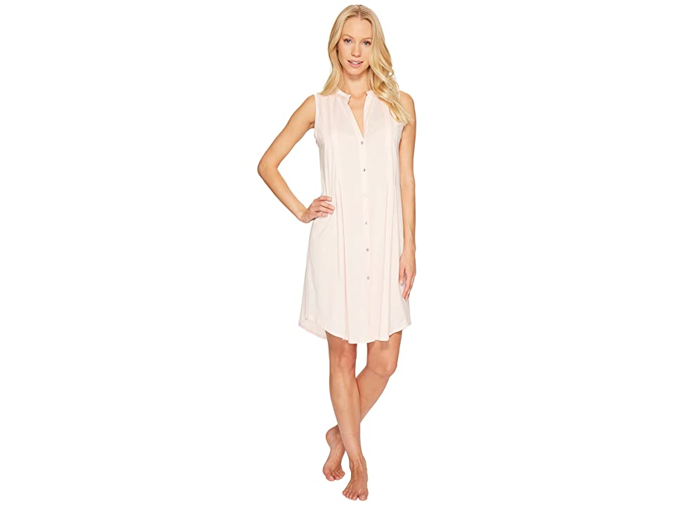 Hanro Cotton Deluxe Button Front Tank Nightgown (Tender Rose) Women