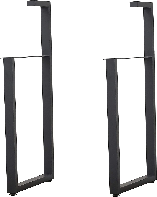 Industrial Black Metal Furniture Legs,Black Cast Iron Table Legs,RetroHeavy Duty Square Tube Desk Legs,Metal Dining Coffee Work Table Bench Furniture Legs,Set of 2