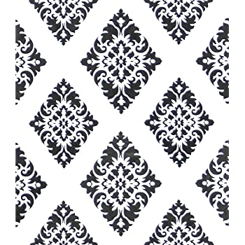 Contact Paper Wallpaper Diamond Peel And Stick Wallpaper White And Black Removable Geometric Damascus Flower Black Wall Paper Wall Covering Self Adhesive Wallpaper Drawer Liner Vinyl Roll17 7 X78 7 Amazon Com