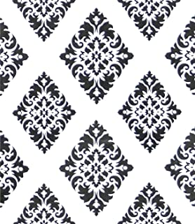 Wallpaper White Contact Paper Damascus Flower Black Peel and Stick Wallpaper Removable Wall Paper Waterproof Wall Covering Embossed Self Adhesive Wallpaper Shelf Drawer Liner Decal Roll17.7''x78.7''