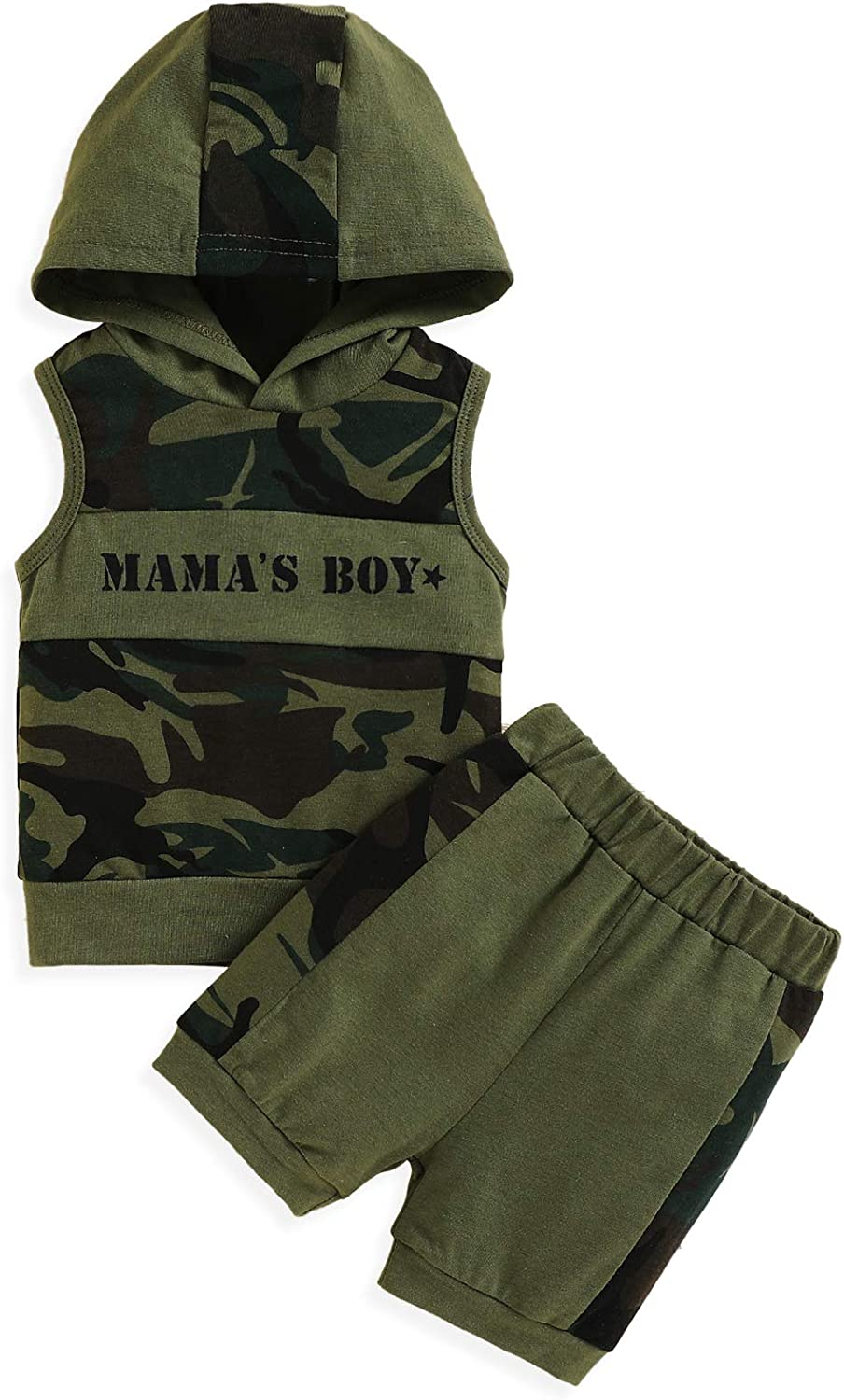 Baby Boy Summer Shorts Outfits Toddler Mama's Boy Hoodie Tank Camouflage Shorts 2Pcs Clothes