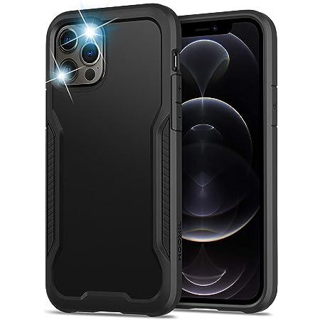 HOOMIL Antigolpes Funda Compatible con iPhone 12 y Compatible con iPhone 12 Pro Carcasa (Negro)