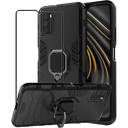 TaiY Funda XiaoMi Mi Poco M3 - Híbrida Rugged Armor Protección Dual Layer Bumper Carcasa PC y TPU con Anillo de Soporte Giratorio + 1 Cristal Templado Case Cover para XiaoMi Mi Poco M3 - Negro