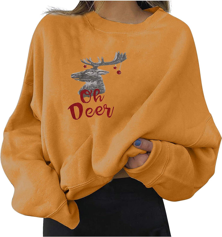 Christmas Crewneck Sweatshirt for Womens Long Sleeve Soft Pullover Cute Deer Printed Loose Comfy Tops