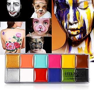 Schmink, 2 soorten IMAGIC 12 kleuren Body Flash Tattoo Olieverf Pigment Makeup Tool Fancy Dress Artist Palette voor Hallow...