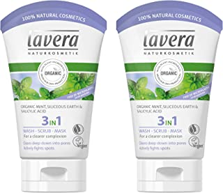 lavera 3 in 1 Cleansing face Wash, Scrub & Mask (Pack of 2): Triple action to effectively reveal clearer skin daily & actively prevent and fight skin blemishes. Facial cleanser for all skin types