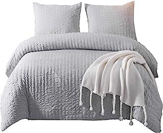DuShow Solid Duvet Cover Set Soft Comforter Cover Set with Zipper Closure 3 Pieces Bedding Set Seersucker King Grey YA-GRX...