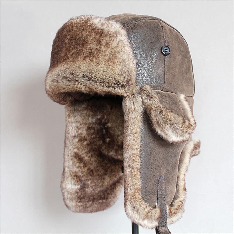 GUOHU Bomber Hats Winter 1 year warranty Men Warm Russian Pu Hat Ranking TOP18 with L Flap Ear