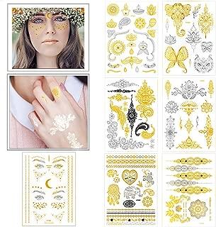 Flash Temporary Tattoos Large Yoga Metallic Gold Face Tattoos for Women Girls Kids, VIWIEU Boho Glitter Face Jewel Makeup 7 Sheets for Halloween Costume Bride Shower Christmas Gift