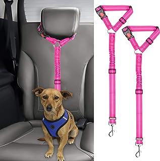 BWOGUE 2 Packs Dog Cat Safety Seat Belt Strap Car Headrest Restraint Adjustable Nylon Fabric Reflective Elastic Bungee Con...