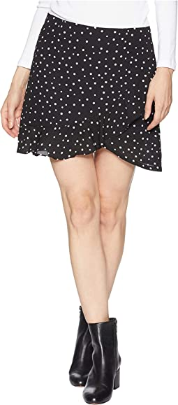 I'm A Rebel, Dottie Printed Faux Wrap Ruffle Skirt
