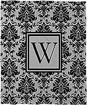 بطانية صوف مرجان من Manual Woodworkers & Weavers مقاس 152.4 سم × 203.2 سم، مطبوع عليها حرف W، باللون الأسود والرمادي الدمشقي
