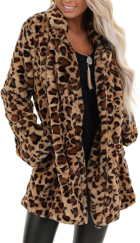djdjdj Women Coats Winter Polyester Women's Leopard Faux Fur Pocket Fuzzy Warm Winter Oversized Outwear Long Coat