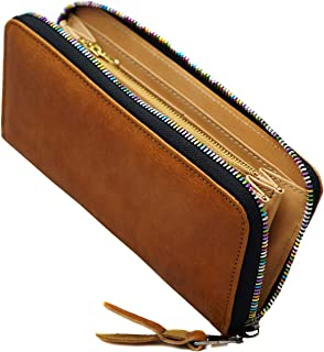[BlissLeather] [一流の栃木レザー]高級 長財布 二つ折り 大容量 レインボーYKKファスナー