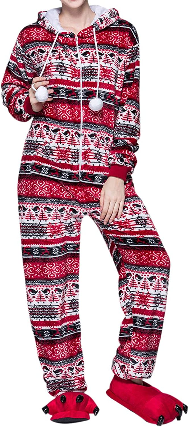 LAPAYA Women's Adult Onesies Hoodie Snowflake Patterned Fleece One Piece Pajamas
