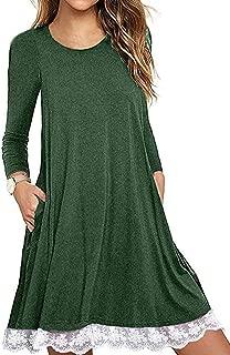 Women's Summer Fall Short Sleeve/Long Sleeve Lace Hem T-Shirt Loose Dress with Pockets