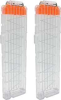 EKIND Soft Bullet Quick Reload Clips 18 Darts Clips Compatible for Nerf N-Strike Elite Magazine Toy Gun (Transparent, Pack of 2)