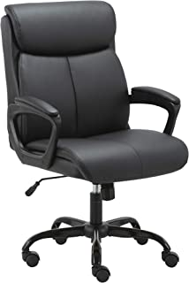Doux Executive Office Chair Soft PU Leather Mid Back with Adjustable Height and Tilt - Black Padded Cushioning