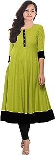 Lakkar Haveli Women's Long Dress Casual Tunic Cotton Frock Suit Green Color Plus Size
