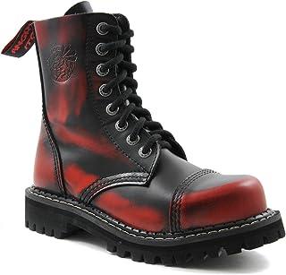 fa8cb0b31f20f Angry Itch Bottes Rangers Militaires Unisex Homme Femme Cuir Rouge Déteint  Noir 8 Trous Army Punk