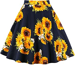 Killreal Women's Vintage Knee Length Flare Floral A Line Pleated Skirt