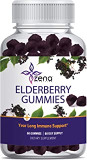 Elderberry Gummies 75mg by Zena, with Vitamin C & Zinc for Immune Support, Powerful Antioxidant Herbal Supplement - 60 Count