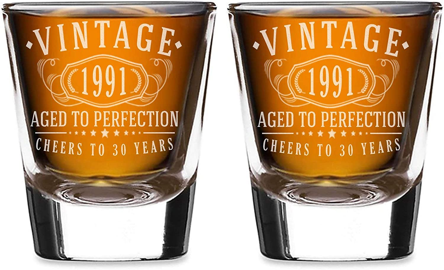 2pk Vintage 1991 Etched 2oz Shot Manufacturer direct delivery Glasses Aged - to 30th Birthday Charlotte Mall