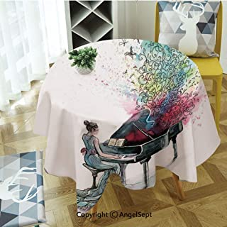 Round Tablecloth Grand Piano Music Musician Butterflies Ornamental Pianist Swirls Vintage for Thanksgiving, Catering Events, Dinner Parties, Special Occasions or Everyday Use, 55