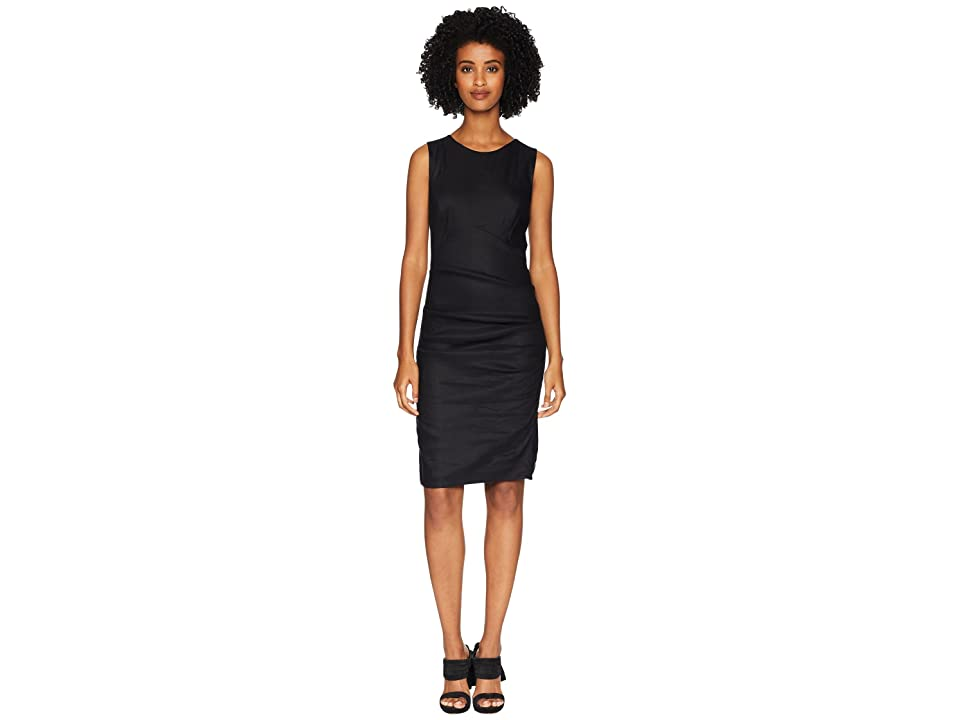 Nicole Miller Cross-Back Tuck Dress (Black) Women
